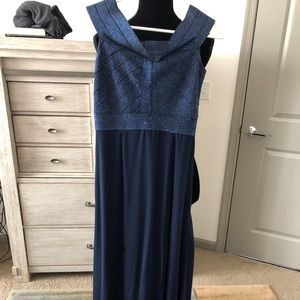 Blue off shoulder cocktail prom party dress